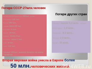 Потери СССР-27млн.человек За освобождение Польши пали 600тыс. человек,Чехословак