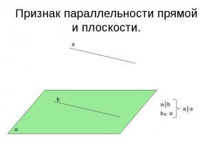 Признак параллельности прямой и плоскости.