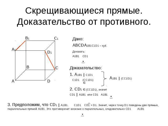 Скрещивающиеся прямые. Доказательство от противного. Дано:АВСDA1B1C1D1 – куб.Доказать:А1В1 СD1 Доказательство:1. А1В1 ║ С1D1 С1D1 (CC1D1) 2. СD1 (CC1D1), значит СD1 ║ А1В1 или СD1 А1В1 3. Предположим, что СD1 ║ А1В1. C1D1 CD1 = D1. Значит, через точ…