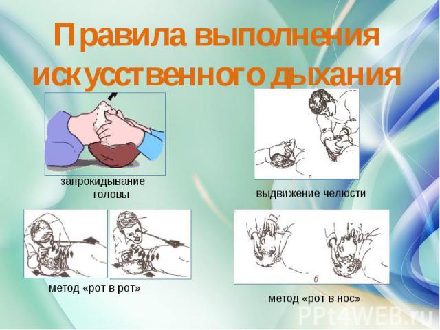 Правила выполнения искусственного дыхания