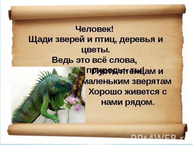 Человек! Щади зверей и птиц, деревья и цветы.Ведь это всё слова, что царь природы- ты! Пусть птенцам и маленьким зверятам Хорошо живется с нами рядом.