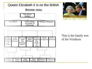 Queen Elizabeth II is on the British throne now. This is the family tree of the