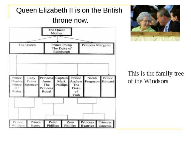 Queen Elizabeth II is on the British throne now. This is the family tree of the Windsors