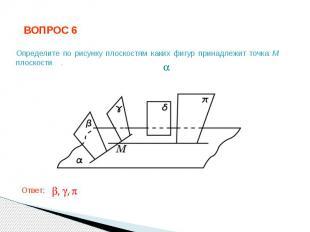 ВОПРОС 6 Определите по рисунку плоскостям каких фигур принадлежит точка M плоско