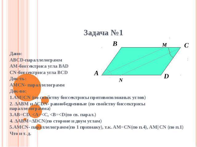 Дано:АВСD-параллелограммАМ-биссектриса угла ВАDCN-биссектриса угла BCDДок-ть:AMCN- параллелограммДок-во:1.AM||CN (по свойству биссектрисы противоположных углов)2. ∆ABM и ∆CDN- равнобедренные (по свойству биссектрисы параллелограмма)3.AB=CD,