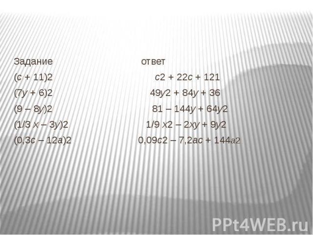 Задание ответ(с + 11)2 с2 + 22с + 121(7у + 6)2 49у2 + 84у + 36(9 – 8у)2 81 – 144у + 64у2 (1/3 х – 3у)2 1/9 х2 – 2ху + 9у2 (0,3с – 12а)2 0,09с2 – 7,2ас + 144а2