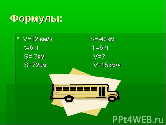 Формулы: V=12 км/ч S=90 км t=6 ч t =6 ч S= ?км V=? S=72км V=15км/ч