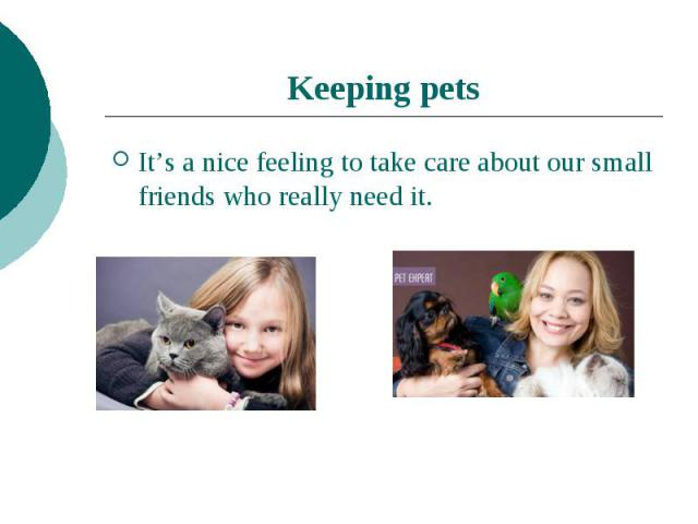 Keeping pets It's a nice feeling to take care about our small friends who really need it.