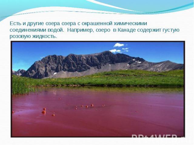 Есть и другие озера озера с окрашенной химическими соединениями водой. Например, озеро в Канаде содержит густую розовую жидкость.