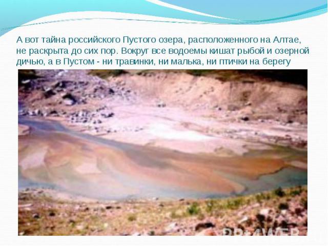 А вот тайна российского Пустого озера, расположенного на Алтае, не раскрыта до сих пор. Вокруг все водоемы кишат рыбой и озерной дичью, а в Пустом - ни травинки, ни малька, ни птички на берегу