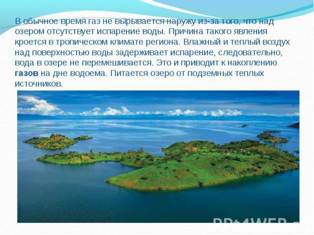В обычное время газ не вырывается наружу из-за того, что над озером отсутствует испарение воды. Причина такого явления кроется в тропическом климате региона. Влажный и теплый воздух над поверхностью воды задерживает испарение, следовательно, вода в …