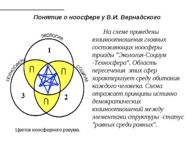 Понятие о ноосфере у В.И. Вернадского На схеме приведены взаимоотношения главных составляющих ноосферы триады