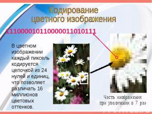 Кодированиецветного изображения 111000010110000011010111 В цветном изображении к