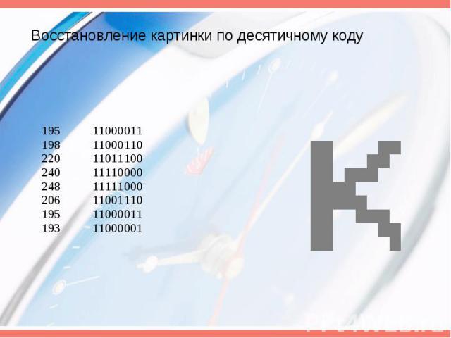 Восстановление картинки по десятичному коду