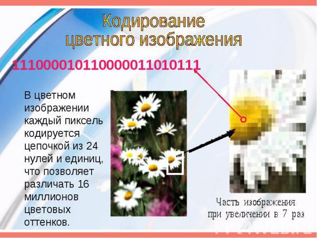 Кодированиецветного изображения 111000010110000011010111 В цветном изображении каждый пиксель кодируется цепочкой из 24 нулей и единиц, что позволяет различать 16 миллионов цветовых оттенков.