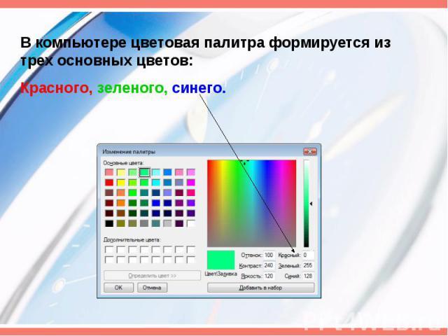 В компьютере цветовая палитра формируется из трех основных цветов:Красного, зеленого, синего.