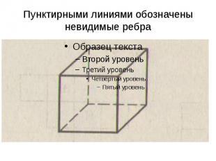 Пунктирными линиями обозначены невидимые ребра