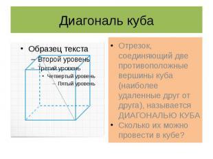Диагональ куба Отрезок, соединяющий две противоположные вершины куба (наиболее у