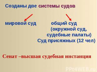 Созданы две системы судовмировой суд общий суд (окружной суд, судебные палаты) С