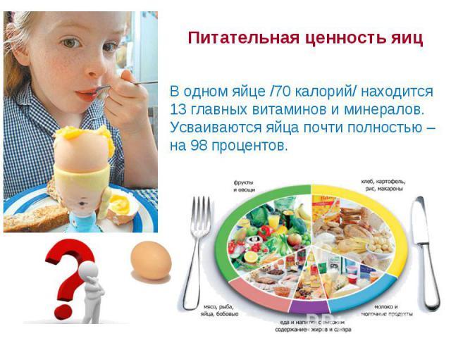 Питательная ценность яиц В одном яйце /70 калорий/ находится 13 главных витаминов иминералов. Усваиваются яйца почти полностью – на98 процентов.