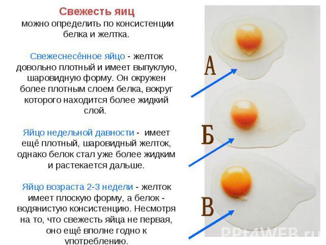 Свежесть яиц можно определить по консистенции белка и желтка.Свежеснесённое яйцо - желток довольно плотный и имеет выпуклую, шаровидную форму. Он окружен более плотным слоем белка, вокруг которого находится более жидкий слой. Яйцо недельной давности…