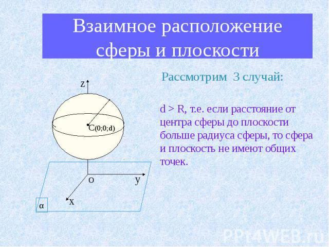 Взаимное расположение сферы и плоскости Рассмотрим 3 случай: d > R, т.е. если расстояние от центра сферы до плоскости больше радиуса сферы, то сфера и плоскость не имеют общих точек.