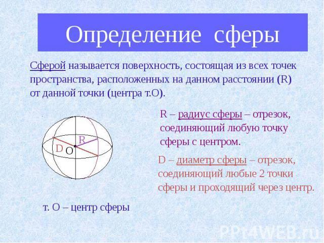 Определение сферыСферой называется поверхность, состоящая из всех точек пространства, расположенных на данном расстоянии (R) от данной точки (центра т.О). R – радиус сферы – отрезок, соединяющий любую точку сферы с центром. D – диаметр сферы – отрез…