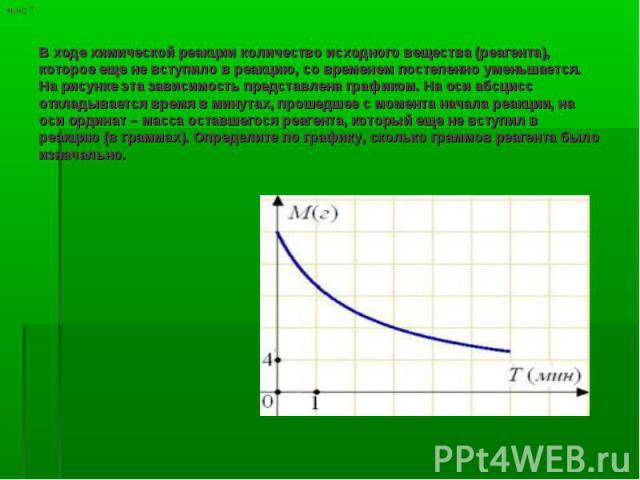 В ходе химической реакции количество исходного вещества (реагента), которое еще не вступило в реакцию, со временем постепенно уменьшается. На рисунке эта зависимость представлена графиком. На оси абсцисс откладывается время в минутах, прошедшее с мо…