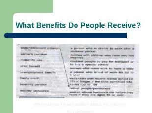 What Benefits Do People Receive? Who receives these benefits? Match the columns.