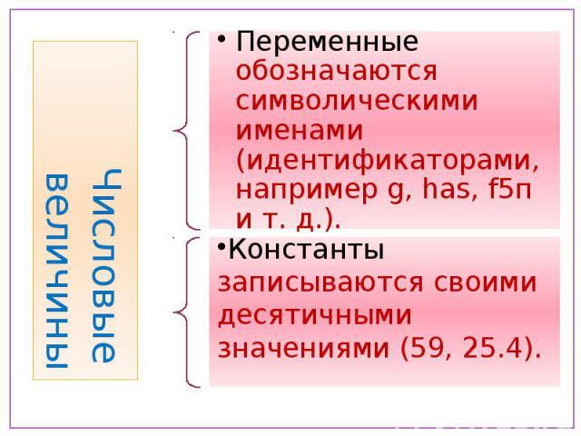 Числовые величины Переменные обозначаются символическими именами (идентификаторами, например g, hаs, f5п и т. д.). Константы записываются своими десятичными значениями (59, 25.4).