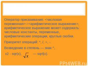 Оператор присваивания: :=, арифметическое выражение может содержать: числовые ко
