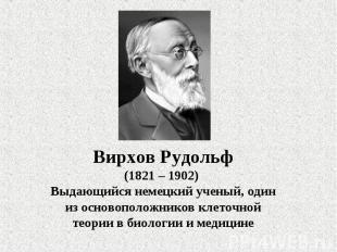 Вирхов Рудольф(1821 – 1902) Выдающийся немецкий ученый, один из основоположников