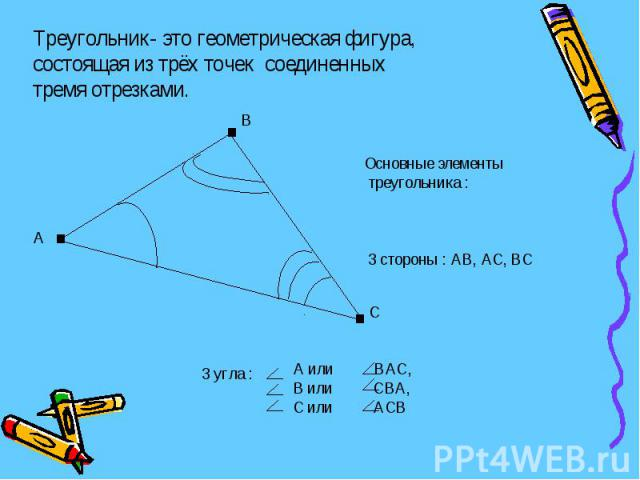 Треугольник- это геометрическая фигура, состоящая из трёх точек соединенныхтремя отрезками. Основные элементы треугольника : 3 стороны : АВ, АС, ВС А или ВАС,В или СВА,С или АСВ