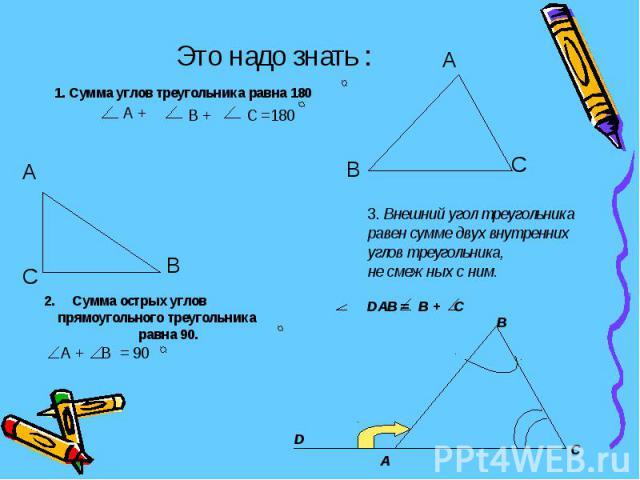 Это надо знать : 1. Сумма углов треугольника равна 180 3. Внешний угол треугольника равен сумме двух внутреннихуглов треугольника,не смежных с ним.DAB = B + C 2. Сумма острых углов прямоугольного треугольника равна 90. А + В = 90