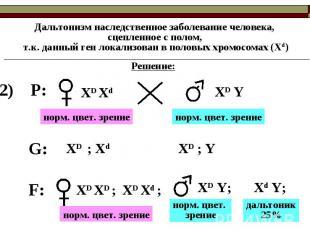 Дальтонизм наследственное заболевание человека, сцепленное с полом, т.к. данный