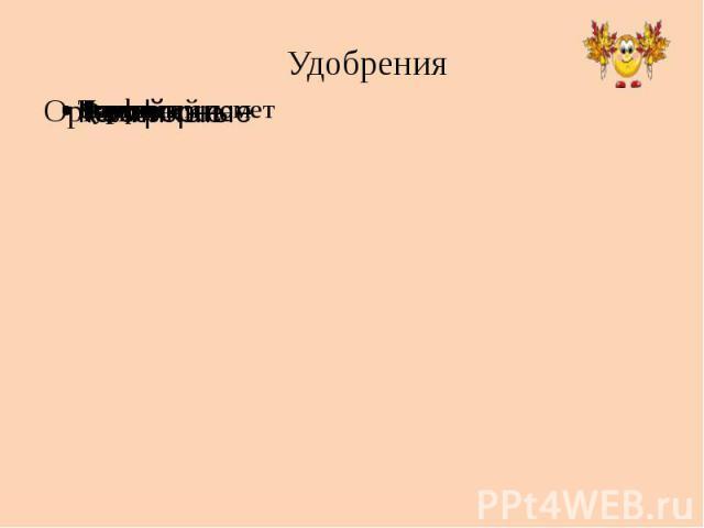 Удобрения ОрганическиеНавозТорфКуринный пометКомпостМинеральныеФосфорныеКалийныеАзотные
