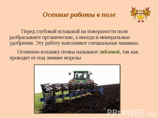 Осенние работы в поле Перед глубокой вспашкой на поверхности поля разбрасывают органические, а иногда и минеральные удобрения. Эту работу выполняют специальные машины. Осеннюю вспашку почвы называют зяблевой, так как проводят ее под зимние морозы