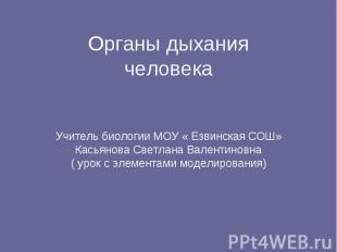 Органы дыханиячеловекаУчитель биологии МОУ « Езвинская СОШ» Касьянова Светлана В