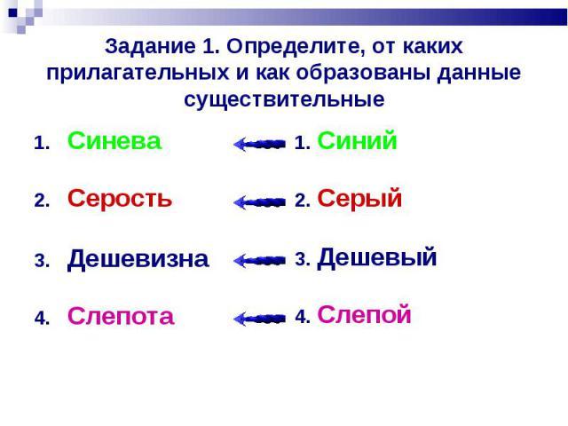 Задание 1. Определите, от каких прилагательных и как образованы данные существительные