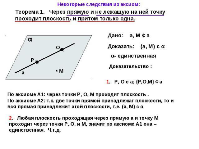 Некоторые следствия из аксиом: Теорема 1. Через прямую и не лежащую на ней точку проходит плоскость и притом только одна. α- единственная Доказательство : 1. Р, О с а; {Р,О,М} ¢ а По аксиоме А1: через точки Р, О, М проходит плоскость . По аксиоме А2…