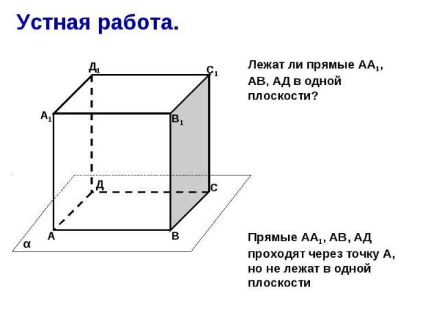 Устная работа. Лежат ли прямые АА1, АВ, АД в одной плоскости? Прямые АА1, АВ, АД проходят через точку А, но не лежат в одной плоскости