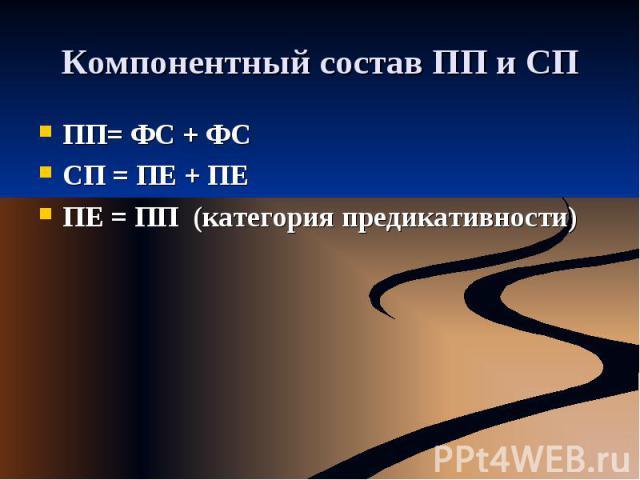 Компонентный состав ПП и СП ПП= ФС + ФССП = ПЕ + ПЕПЕ = ПП (категория предикативности)