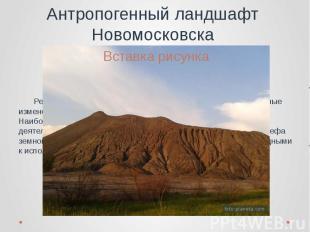 Антропогенный ландшафт Новомосковска Рельеф Новомосковского района также претерп