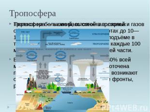 Тропосфера Тропосфера—нижний, высотой в полярных областях 8—10 км, в умеренных