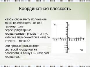 Координатная плоскость Чтобы обозначить положение точки на плоскости, на ней про