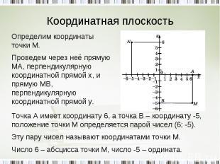 Координатная плоскость Определим координаты точки М.Проведем через неё прямую МА