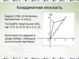 Координатная плоскость Задача 1399. (Н.Виленкин. Математика. 6 класс)Постройте т