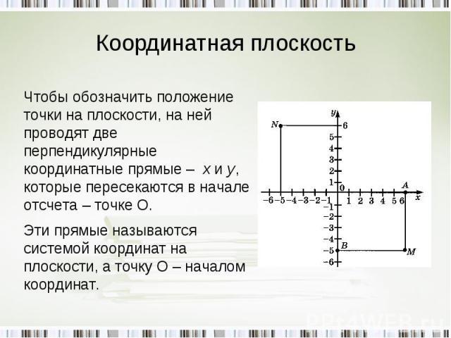 Координатная плоскость Чтобы обозначить положение точки на плоскости, на ней проводят две перпендикулярные координатные прямые – х и у, которые пересекаются в начале отсчета – точке О.Эти прямые называются системой координат на плоскости, а точку О …