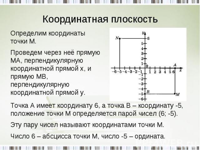 Координатная плоскость Определим координаты точки М.Проведем через неё прямую МА, перпендикулярную координатной прямой х, и прямую МВ, перпендикулярную координатной прямой у. Точка А имеет координату 6, а точка В – координату -5, положение точки М о…