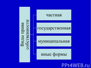 Виды права собственностичастнаягосударственнаямуниципальнаяиные формы